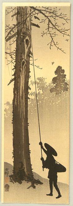 Ohara Koson: Hunting for Birds -  Ca. 1900-10.