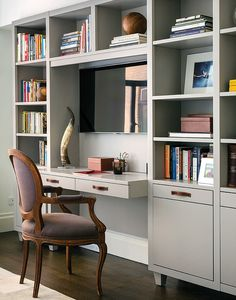 Lacquered desk - media center with leather-strapped handle storage drawers and dropdown laptop shelf.