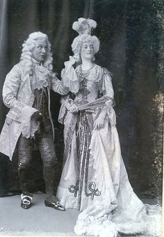 """Torquay Operatic Society (amateur), """"The Gondoliers,"""" 1903, E. Ward Symmons as the Duke of Plaza-Toro and F. Breton as the Duchess of Plaza-Toro, costume design heavily influenced by the costumes of the original DOC production and subsequent DOC tours."""