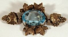 Art Deco Czech Glass Brooch Pin w Gold Plated Grape Clusters Leaves Pin Brooch | eBay