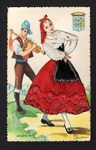 embroidered postcards antique elsi gumier   Embroidered-Postcard-signed-Elsi-Gumier-woman-in-red-white-dress-piper