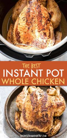 Learn how to EASILY cook a whole chicken in the Instant Pot in less than 45 mins. This Instant Pot Whole Chicken recipes is simple & easy-to-follow that can be modified to suit your needs. It is perfectly tender, juicy + full of flavor. A $5 dinner that is easy to make, great for meal prep, dinner, lunch and freezer friendly. Learn how to cook Instant Pot rotisserie chicken. #instantpot #instantpotrecipes #instantpotwholechicken #pressurecooker #recipes #chickenrecipe #wholechicken #chicken Supper Recipes, Ww Recipes, Lunch Recipes, Low Carb Recipes, Crockpot Recipes, Dessert Recipes, Gluten Free Recipes, Chicken Flavors, Chicken Recipes