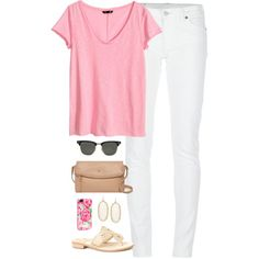 white jeans by classically-preppy on Polyvore featuring H&M, Denim & Supply by Ralph Lauren, Jack Rogers, Kate Spade, Kendra Scott, Lilly Pulitzer and Ray-Ban
