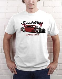 Speed Shop Hot Rod T-Shirt - White  Mark Christopher Originals Supporting  Breast Cancer Awareness