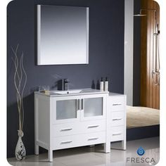 Fresca Torino 48 Inch White Modern Bathroom Vanity With Side Cabinet And Undermount Sink Home Depot Canada