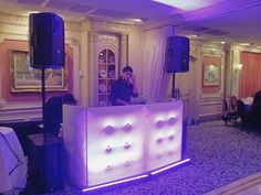 A shortened version of the white plush DJ facade from Dragon Board.  Taken at the West Orange Manor in West Orange, NJ. Shown in the picture is DJ Archie of www.andresentertainment.com, www.djchrisandres.com, #filipinodjnj