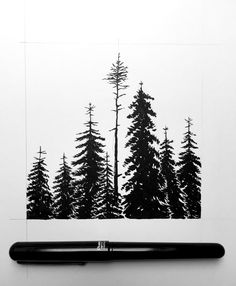 Drawing Doodle Easy Drawings, doodles, and design Tree Silhouette Tattoo, Silhouette Painting, Wald Tattoo, Pentel Brush Pen, Forest Drawing, Totenkopf Tattoo, Native Tattoos, Pen Sketch, Drawing Sketches