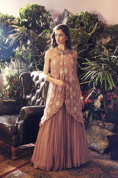 Nude Frill Cape and Skirt Stylish Dresses For Girls, Stylish Dress Designs, Wedding Dresses For Girls, Girls Dresses, Casual Dresses, Dress Indian Style, Indian Fashion Dresses, Indian Designer Outfits, Indian Gowns