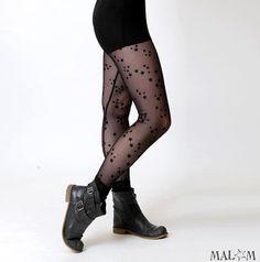 Sheer black leggings  Starry black mesh leggins  Women by Malam, €45.00