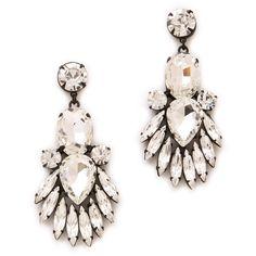 Noir Jewelry Nightfall Crystal Drop Earrings found on Polyvore