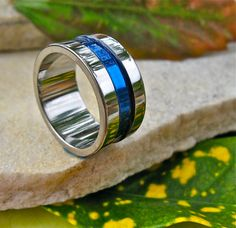 Thin Blue Line Titanium Wedding Band or by TitaniumRingsStudio, $139.00