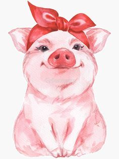 'Piggy in red' Sticker by Gribanessa Cute Canvas Paintings, Animal Paintings, Canvas Art, Cow Painting, Painting & Drawing, Watercolor Animals, Watercolor Art, Wallpaper Fofos, Pig Wallpaper