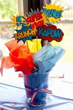 Superhero Birthday Party Printables from Fun, bold printables to make your superhero party amazing! Every little detail is coordinated. Love that this is just superhero in general and not a specific character! Avengers Birthday, Superhero Birthday Party, Birthday Party Themes, 5th Birthday, Super Hero Birthday, Birthday Ideas, Backyard Birthday, Birthday Party Centerpieces, Birthday Table