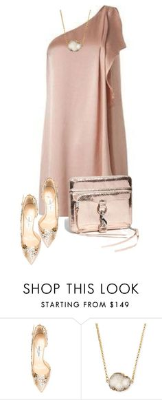 """Rose Gold Cocktail Dress O.O."" by maison-de-forgeron ❤ liked on Polyvore featuring moda, Jimmy Choo e Jules Smith"