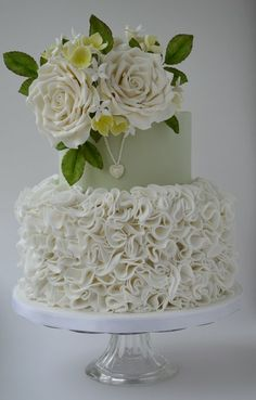 White ruffles and roses - by Katie @ CakesDecor.com - cake decorating website