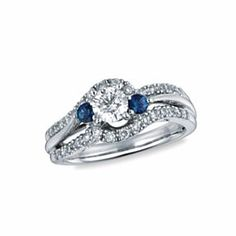 14K White Gold 7/8 Ct D/VVS1 & Blue Sapphire Three Stone Swirl Engagement Ring # Free Stud Earring by JewelryHub on Opensky