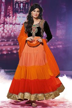Black and Orange Georgette Churidar Suit Black and Orange Georgette, Contemporary, Designer, Traditional Anarkali, Churidar, Dress Material Churidar Suit with and Floor Length Kameez with Orange Chiffon Duppata. Top designed with Embroidered, Resham, Stone, Zari, Zircon work. This design is perfect for Party, Wedding, Festival, Casual and Occasion Wear.Topkart Fashion is the most popular designer wear online ethnic shop brands in India.