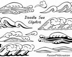 Doodle-Meer Clipart, Wellen clip Art Hand gezeichnet Wellen, Linie, Kunst, Digital, PNG, EPS, AI, Vektor, für privaten und gewerblichen Einsatz