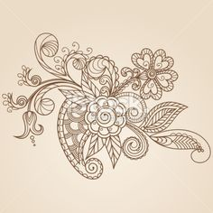 More inspiration // Hand-Drawn Abstract Henna Mehndi Flowers and Paisley Royalty Free Stock Vector Art Illustration