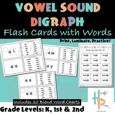These Vowel Sound Digraph Flash Cards with Words and Reference Charts are a fantastic resource to help students with their vowel sound digraph blends and to be able to compare them to everyday words. Each card is meant to be double-sided. School Fun, School Stuff, Middle School, Summer Lesson, Learning Phonics, Blending Sounds, Blends And Digraphs, Language Arts, Dual Language
