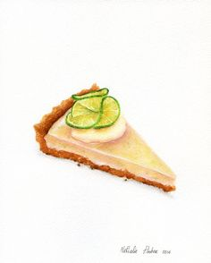 Key Lime Pie ORIGINAL Painting Food by ForestArtStudio on Etsy
