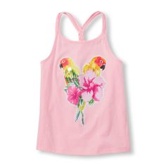 Girls Sleeveless Embellished Graphic Braided Back Tank Top - Pink - The Children's Place