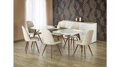 RICHARD - egy fiatalos, trendy és modern étkezőasztal, lakkozott MDF-ből, laminált MDF-ből és festett acélból. Az étkezőasztal mérete: 150÷190/90/75 cm. A fotón K214 székek láthatók az asztallal, melyek nem tartoznak az asztalhoz, de