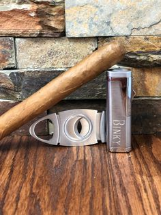 Cigar Torch Lighter w Cigar Cutter Set - Personalized- Mens Gift- Groomsmen- Fathers Day- Wedding- Anniversary- Birthday- Custom Engraved
