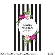 Modern Circle Floral Wreath Striped Business Card