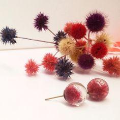 terrarium jewelry  cool earrings  dried flower by MissMayoShop