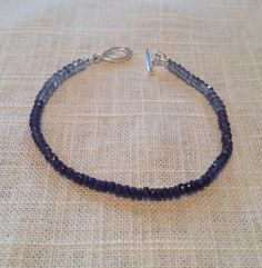 Sapphire, Iolite and Blue Topaz Handcrafted Beaded Bracelet, Blue Bracelet, Women's Bracelet, Gift for Her, Valentine's Day Gift