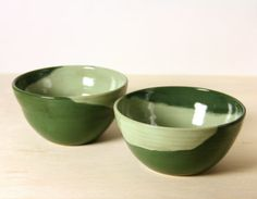 Ceramic Bowl Set  Tall Green Twins by Mudamorphosis on Etsy, $56.00