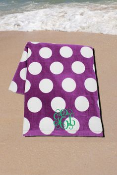 Get Ready for the Beach with This Soft Velour Towel! Violet and White Polka Dot Velour Beach Towel Beach Weather, Spring Break, Beach Towel, My Girl, Preppy, Polka Dots, Fun, Girls, Toddler Girls