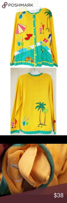 """🆕 Summer in Winter Embroidered Sweater NWT! New with tags! This is an adorable unique """"summer in winter"""" button down cardigan sweater by The Quacker Factory. It's a yellow sweater with a summer theme including the beach, pool, palm trees, drinks, and sunglasses. Has sequins, beads, and appliques throughout it. Has a green trim around the scoop neck and sleeves. Also has shoulder pads. Comes with bag of button covers. No swaps/trades. The Quaker Factory Sweaters Crew & Scoop Necks"""