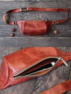 Main compartment with zip. Pocket for phone inside. Italian pull up leather with vintage effect. This belt bag for Women an Leather Bum Bags, Leather Fanny Pack, Brown Leather Belt, Leather Pouch, Balenciaga, Leather Bag Pattern, Louis Vuitton, Outfit Trends, Hip Bag