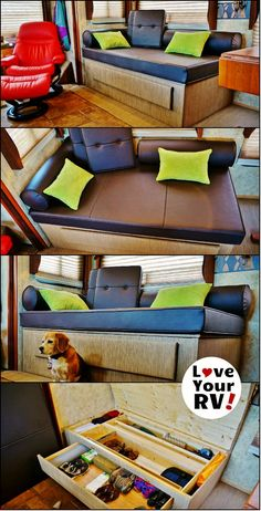 """Custom Built RV Daybed Howto by the Love Your RV! blog - http://www.loveyourrv.com/summer-renovations-part-6-completing-the-custom-rv-daybed/ We are ecstatic with the look and functionality of our new custom RV daybed. The total cost works out to around a thousand dollars, but it is made from very good quality materials and should last us a long time. We had shopped around for so-called """"RV furniture"""" and found it lacking in style and quality but still pretty expensive."""