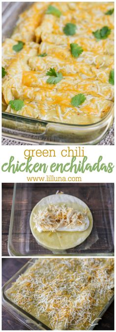 One of our favorite Mexican dishes - Green Chile Chicken Enchiladas recipe! Corn tortillas stuffed with chicken cheese las palmas green chile enchilada sauce sour cream and green chiles topped with more sauce and cheese! Green Chile Enchilada Sauce, Sour Cream Enchilada Sauce, Sour Cream Sauce, Def Not, Comida Latina, Quesadillas, Tex Mex, Burritos, Gastronomia