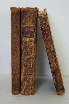 """Love early worn leather covered small books! Three early leather books 6 1/2"""" by 4"""""""
