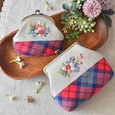 New! . 新作〜♪ #がま口 #gamaguchi #刺繍 #embroidery