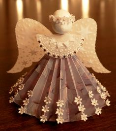 November 2015 more – Artofit Christmas Angel Ornaments, Paper Ornaments, Handmade Ornaments, Christmas Decorations To Make, Christmas Projects, Christmas Crafts, Xmas, Diy Angels, Handmade Angels