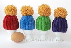 Egg Cozies from Morehousefarm...great for leftover yarns...