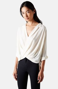 Topshop Surplice Woven High/Low Top >> Nordstrom