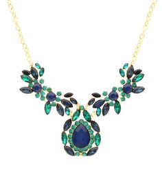 Take a look at this Blue & Gold Statement Floral Necklace by Sparkling Sage on #zulily today!