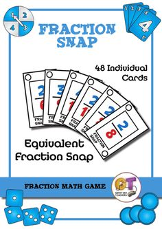 This game involves playing snap with cards that show equivalent fractions. Alternatively the cards can also be used to play go fish with equivalent fractio. Equivalent Fractions, Math Fractions, Fraction Games, Play N Go, 4th Grade Math, Going Fishing, Math Games, Teaching Resources, Colour Set