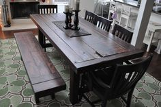Handmade heirloom eclectic farm house plank style dining table with rustic distressed features. Atlanta, Georgia. $1,700.00, via Etsy.