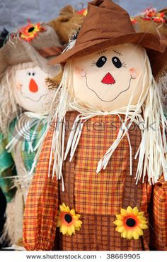 #scarecrow ideas for #fall decorations    These two have lived at my house for years.  Found them at #CrackerBarrell