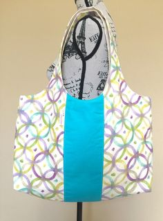 Multicolor Cotton Tote Bag Shoulder Tote by LittleMissPoBean