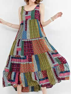 Vintage Patchwork Sleeveless O-Neck Long Maxi Dresses