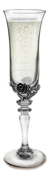 Wild Rose Pedestal Flute Glass