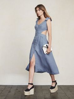 The Gisela Dress lets you feel like a lady but also show a little here and there. https://www.thereformation.com/products/gisela-dress-laguna?utm_source=pinterest&utm_medium=organic&utm_campaign=PinterestOwnedPins